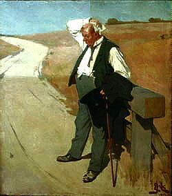 Originalt maleri Den tørstige mand af Erik Henningsen under rensning Tuborg mand