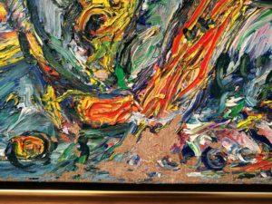 Detalje af skade i maleriet Spartacus af Carl-Henning Pedersen før konservering