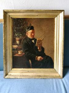 Portrætmaleri af mand der læser før konservering
